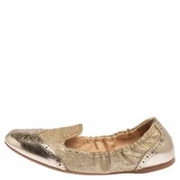 Prada Sport Gold Glitter Fabric And Patent Leather Brogue Scrunch Ballet Flats Size 37.5 338797