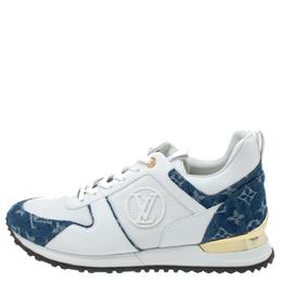 Louis Vuitton White/Blue Leather, Mesh And Denim Monogram Run Away Sneakers Size 42 339311