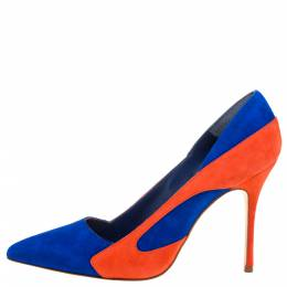 Manolo Blahnik Blue/Orang Suede Mandoka Pointed Toe Pumps Size 37.5 338372