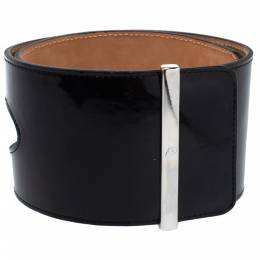 Alexander McQueen Black Cut Out Patent Leather Waist Belt 75CM 338560