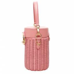 Miu Miu Pink Leather Wicker Cylinder Mini Shoulder Bag 337931