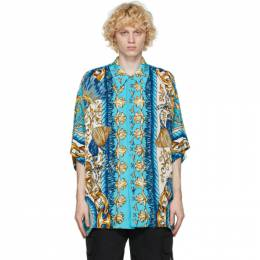 Moschino Blue Viscose Graphic Short Sleeve Shirt 0212 5268