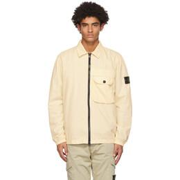 Stone Island Yellow Brushed Canvas Zip-Up Shirt 7315107WN