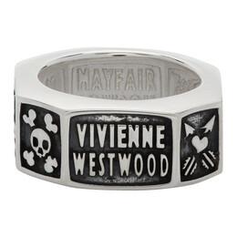Vivienne Westwood Silver and Gunmetal Samos Ring 64040098-Q001-FJ