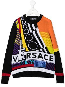 Young Versace джемпер со вставками и логотипом YD000272A236528