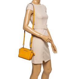 Michael Kors Yellow Leather Mini Selma Crossbody Bag 339883