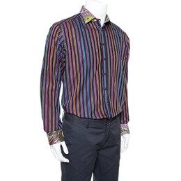 Etro Purple Striped Cotton Printed Collar Long Sleeve Shirt XL 338329