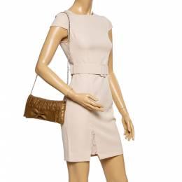 Carolina Herrera Gold Monogram Embossed Leather Bow Shoulder Bag 339858