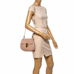 Chloe Blush Pink Leather Medium Drew Shoulder Bag 339066