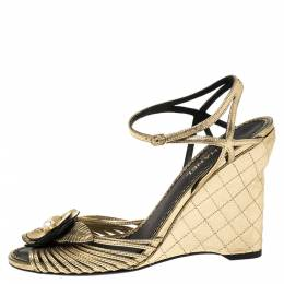 Chanel Metallic Gold Leather Faux Pearl Camellia Strappy Ankle Strap Wedge Sandals Size 39 340121