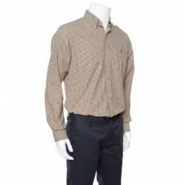 Ralph Lauren Olive Green Checked Cotton Button Down Shirt M 338307