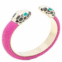 Bvlgari Serpenti Forever Pink Galuchat Leather Open Cuff Bracelet 15 cm 338802