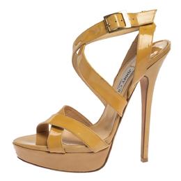 Jimmy Choo Beige Patent Leather Vamp Platform Sandals Size 41.5 339315