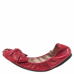 Miu Miu Red Leather Knotted Bow Scrunch Ballet Flats Size 37 339783