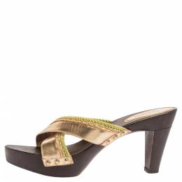 Sergio Rossi Gold Criss Cross Leather Platform Wooden Slide Sandals Size 40 339768