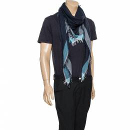 Emporio Armani Denim Blue Modal Wool Scarf 338364