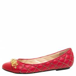 Boutique Moschino Red Quilted Chain Leather Logo Ballet Flats Size 38 340275
