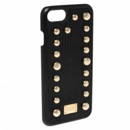 Dolce&Gabbana Black Lizard Embossed Leather Studded iPhone 7 Cover 340081