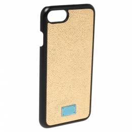 Dolce&Gabbana Metallic Gold Leather iPhone 7 Cover 340080
