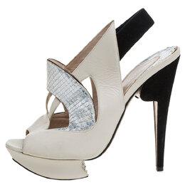 Nicholas Kirkwood Beige/Black Leather And Python Leather Slingback Platform Sandals Size 39.5 339965