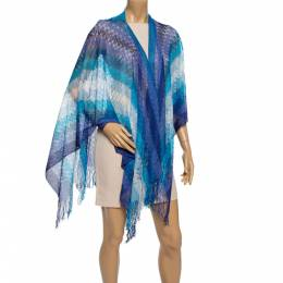 Missoni Blue Fringed Crochet Knit Wrap Scarf 338357