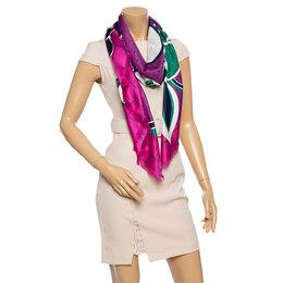 Bvlgari Multicolor Floral Print Silk Scarf 338351