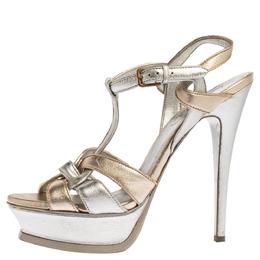 Yves Saint Laurent Metallic Gold/Silver Leather Tribute Platform Sandals Size 37.5 338998