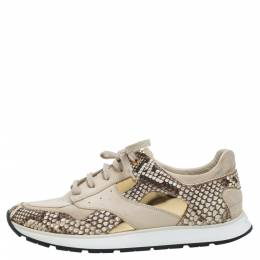 Louis Vuitton Beige Suede Leather And Python Trim Run Away Low Top Sneakers Size 39 339756