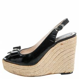Dior Black Patent Leather Bow Espadrille Wedge Slingback Sandals Size 38 340338