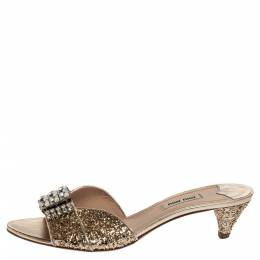 Miu Miu Coarse Glitter Crystal Embellished Mules Sandals Size 39.5 339229