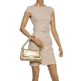 Michael Kors Gold Leather Chain Link Flap Baguette Bag 339242