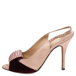 Fendi Beige/Burgundy Satin Crystal Embellished Slingback Peep Toe Sandals Size 37 340164