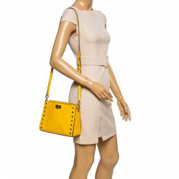 Michael Kors Yellow Leather Sylvie Crossbody Bag 339871