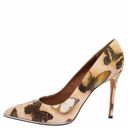 Givenchy Beige Satin Butterfly Printed Pointed Toe Pumps Size 40.5 339265