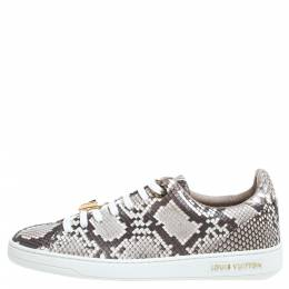 Louis Vuitton Two Tone Python Leather Front Row Lace Up Sneakers Size 36.5 339260