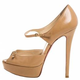 Christian Louboutin Beige Leather Peep Toe Ankle Strap Pumps Size 36.5 331867