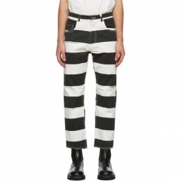 Vyner Articles Black and White Stripe Print Trousers 1A231032
