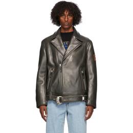 Ader Error Black Leather Normen Jacket BTAFWJK04BK