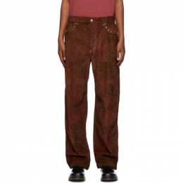 Phipps Red and Brown Corduroy Tie-Dye Studded Trousers PHFW20-P06