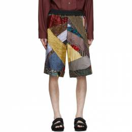 By Walid Multicolor Silk Tie Story Lesley Shorts 231061M