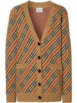Burberry полосатый кардиган-пальто 8033236