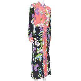 Diane Von Furstenberg Coral Pink Floral Print Silk Crepe Maxi Dress L 339987