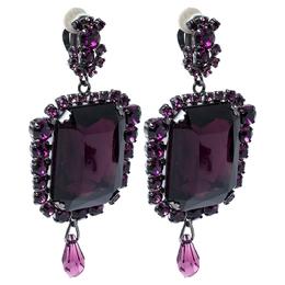 Dior Vintage Purple Crystal Drop Clip On Earrings 335483