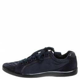 Prada Sport Navy Blue Nylon and Suede Lace Top Sneakers Size 42 339478