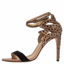 Alexandre Birman Brown Python And Black Suede Leather Ankle Strap Sandals Size 37.5 340353