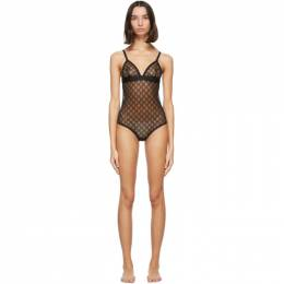 Gucci Black Tulle GG Bodysuit 599604 XUAAW