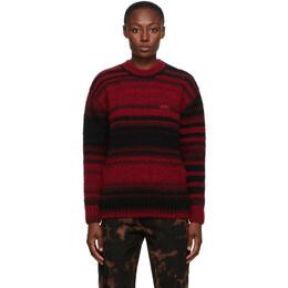032C Black and Red Striped Logo Sweater FW021TU002.2