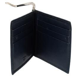 Prada Navy Blue Saffiano Lux Leather Money Clip Bi-fold Wallet 340922