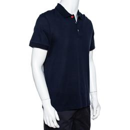 Burberry Navy Blue Cotton Pique Button Detail Polo T-Shirt L 340247