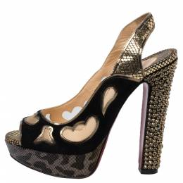 Christian Louboutin Black/Golden Suede, Leather And Mesh Peep Toe Slingback Platform Sandals Size 36 340659